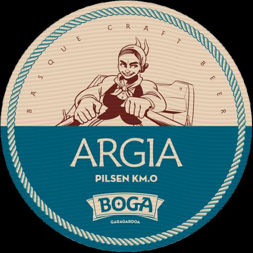 BOGA ARGIA LOGO. Cerveza artesana pilsen logo.Cerveza rubia logo.