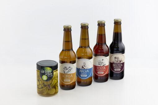 Surtido para degustación de cervezas artesanas. Maridaje de cerveza artesana con gildas de anchoa. Pack de cerveza artesanas. La Gilda.