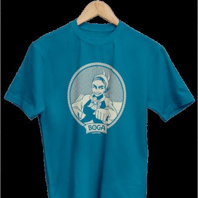 Camiseta de manga corta ilustrada de nuestra cerveza rubia. Camiseta de color azul..
