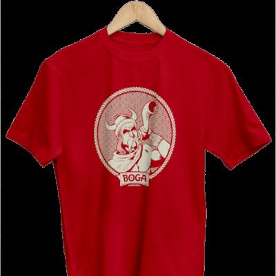 Camiseta ilustrada de nuestra cerveza artesanal tostada. Camiseta de color rojo.